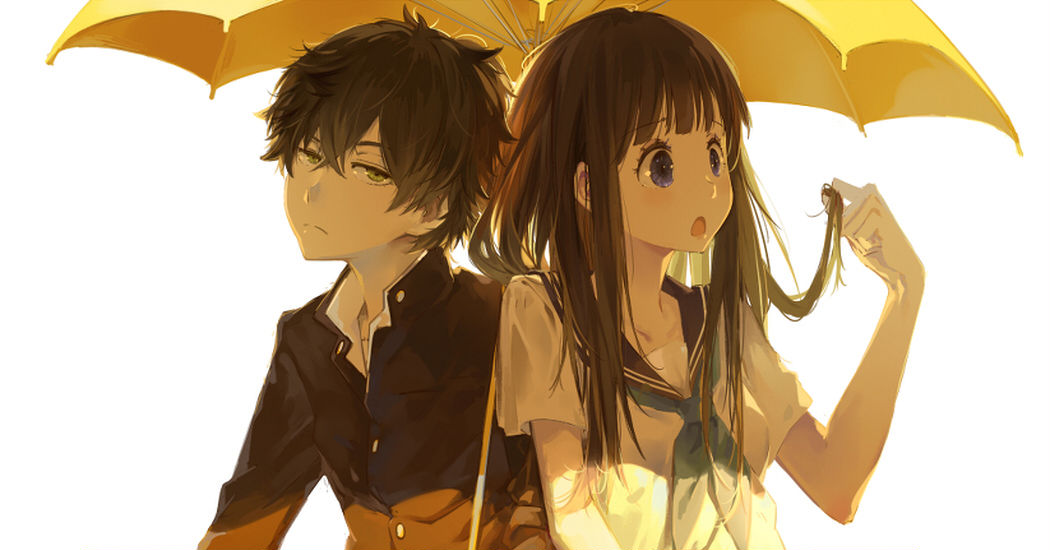 Please don't stop the rain! Sharing an umbrella ♡