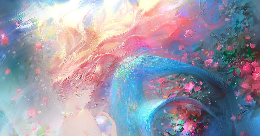 My tragic love story turning into bubbles. Mermaids Illustrations