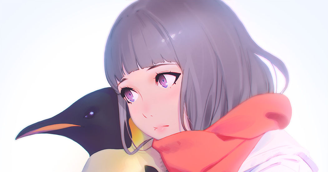 A ball of perfect cuteness♡ Drawings of Penguins and Girls