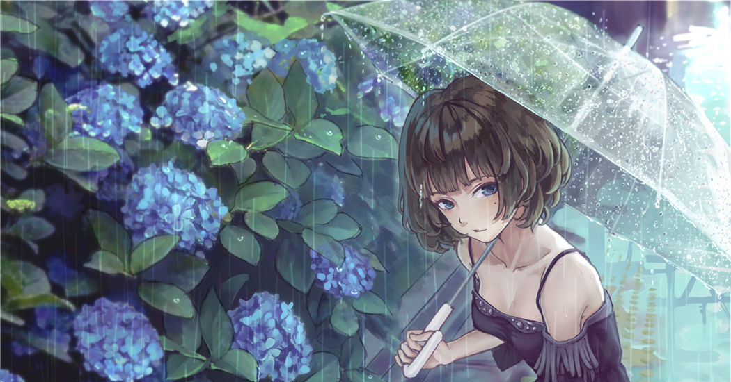 Pitter-patter, the rain is falling gently. Drawings of girls during the rainy season.