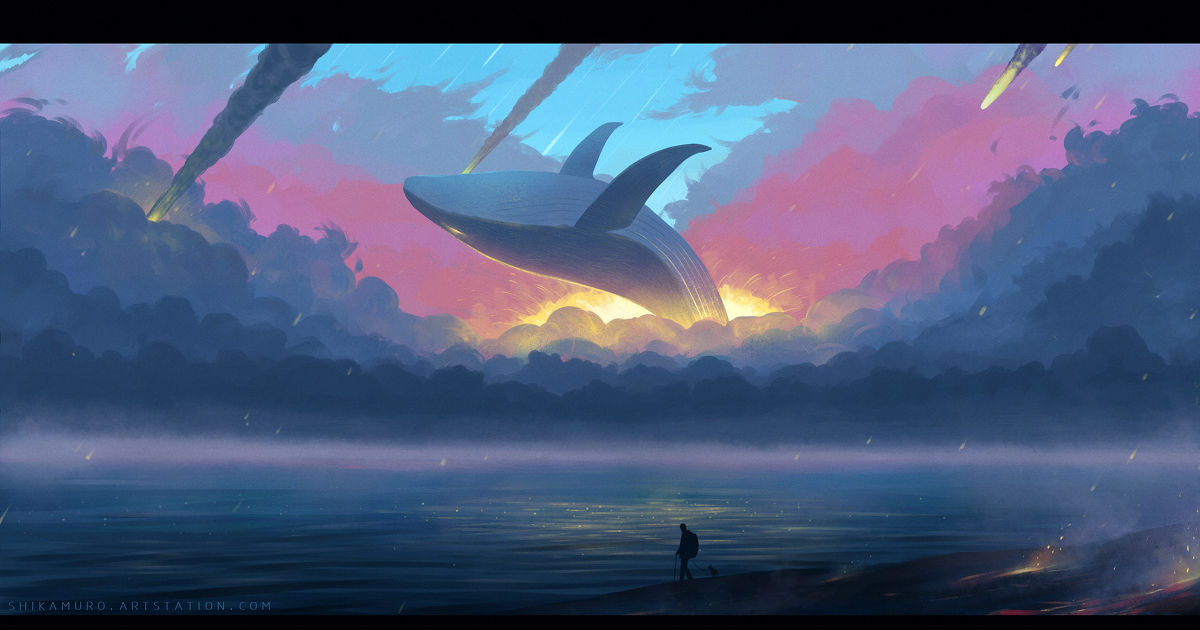 Swimming the vast ocean with elegance. Whales Drawings