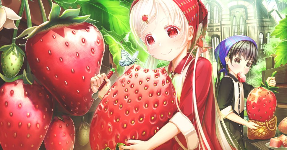 Sweet and sour juiciness♡  Illustrations of Strawberries and Girls