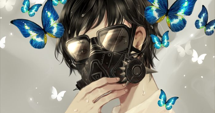 Requesting purification. Illustrations of Guys in Gas Masks