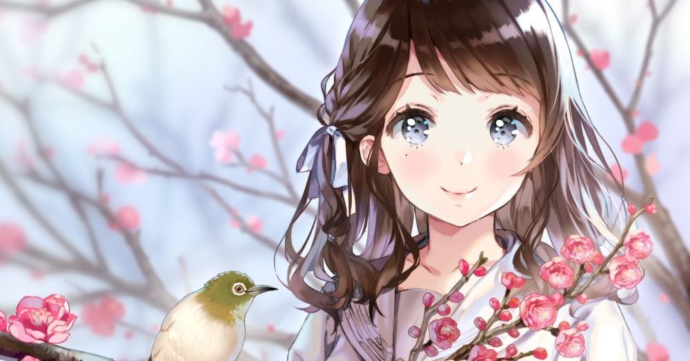 I want to enjoy the beautiful seasons with you. Illustrations of Flowers and Girls