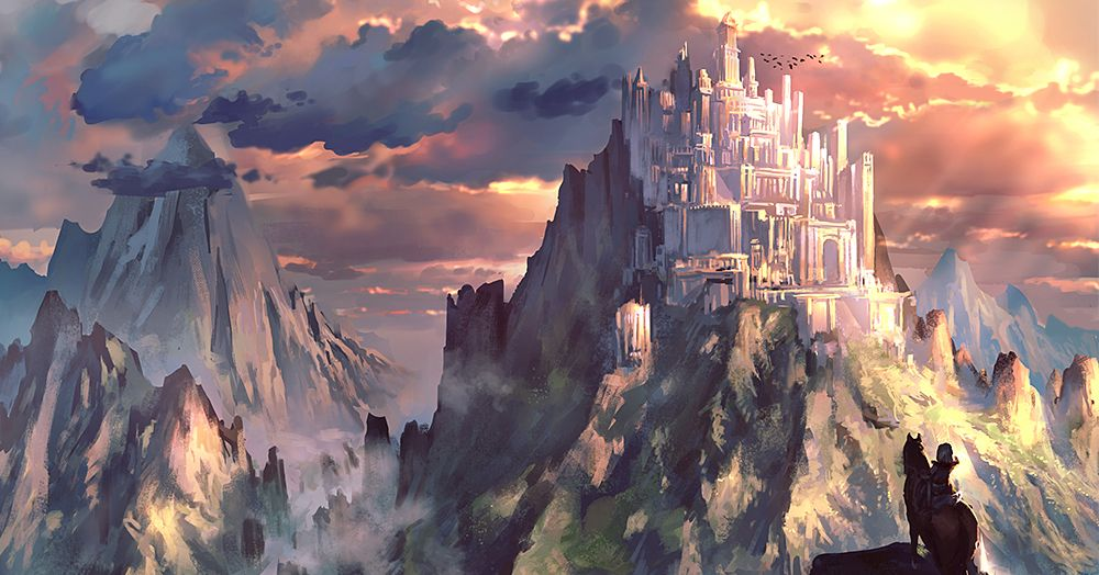 Your splendor touches the sky.  Illustrations of Western-style Castles