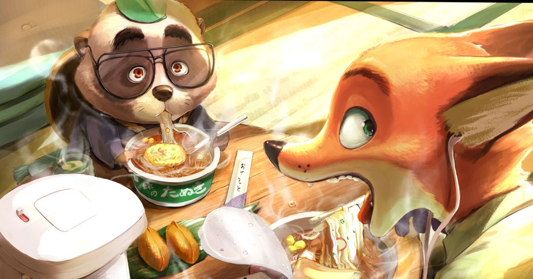 Having a delicious New Year's Eve. Illustrations of Red Kitsune and Green Tanuki