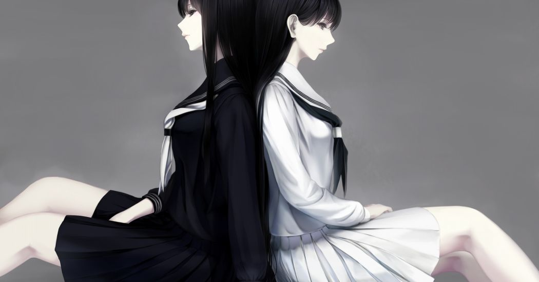 The black and white colors of youth.  Illustrations of White VS Black Sailor Uniforms