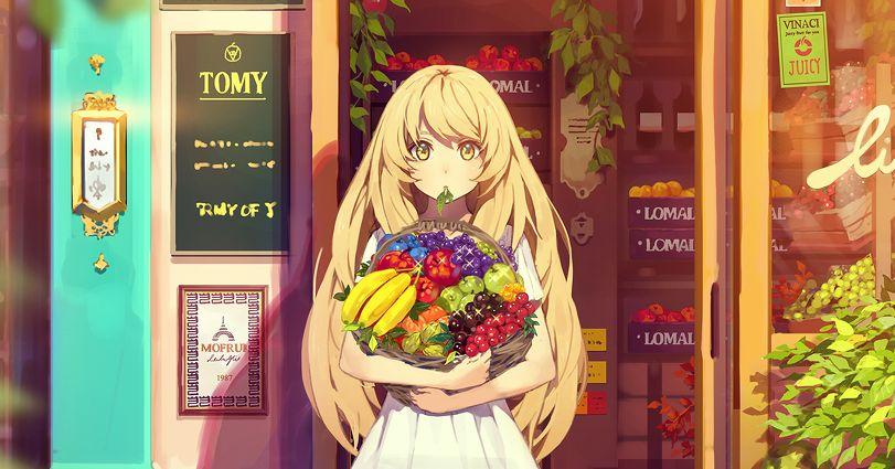 You're my source of vitamins!  Illustrations of Fruits and Girls