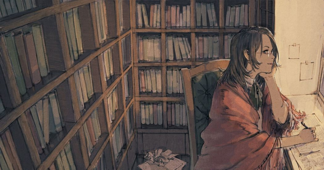 I want to sink into a sea of books. Illustrations of Novelists