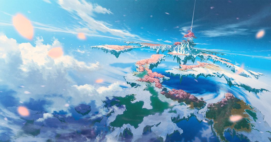The paradise in the fantasy world. Hanging Garden's Illustrations