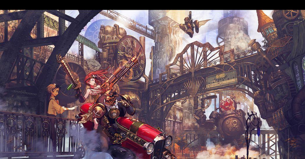 Mechanical romance!  Steampunk Illustrations