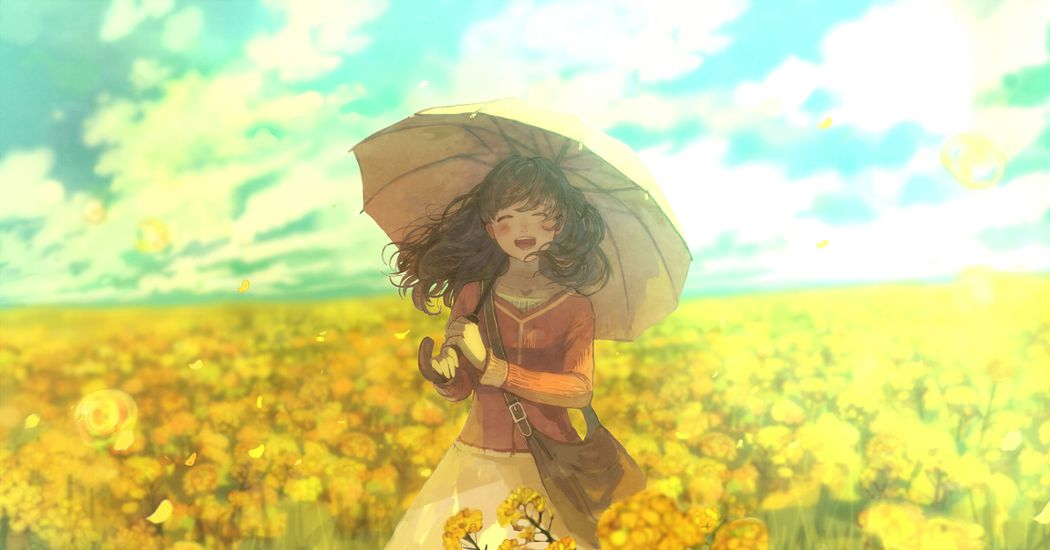 Dyed in yellow.  Illustrations of Rape Blossoms