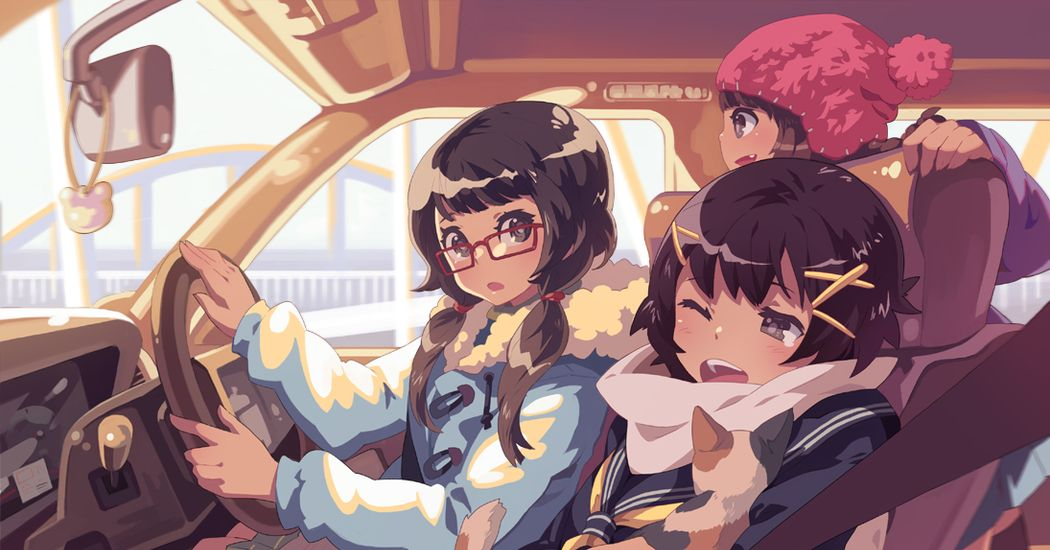 Illustrations of Girl Drivers  - Shall We Go for a Drive?