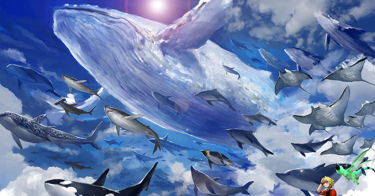 Drawings of Marine Animals Swimming in the Sky - Swim with elegance.