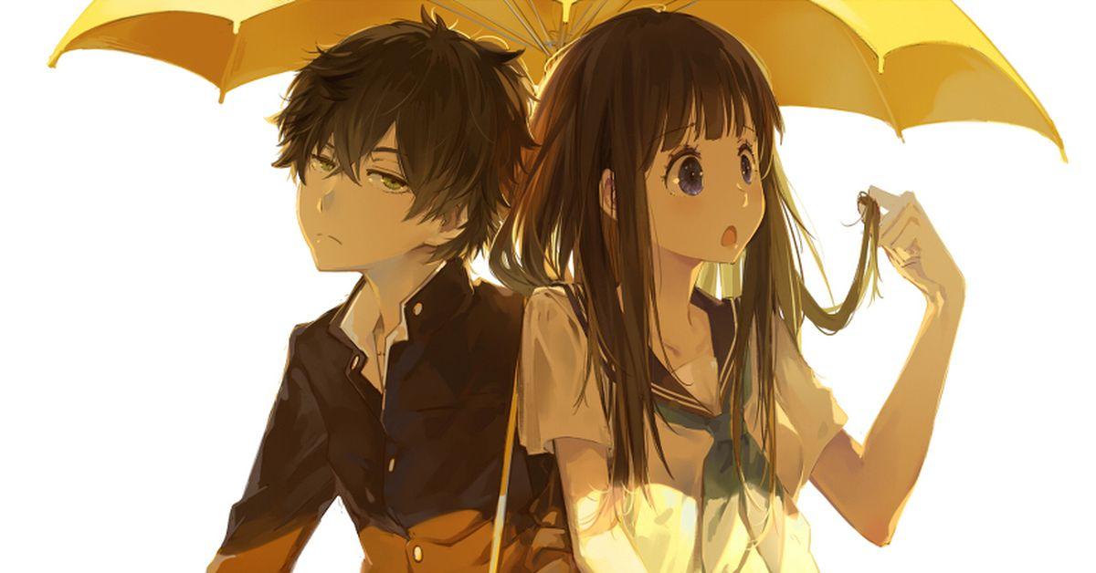 Please don't stop the rain! Sharing an umbrella ♡