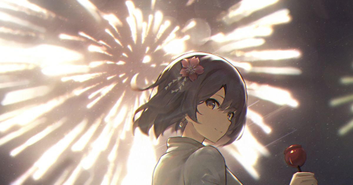 Drawings of Fireworks - A Big Flower Blooms in the Night Sky.