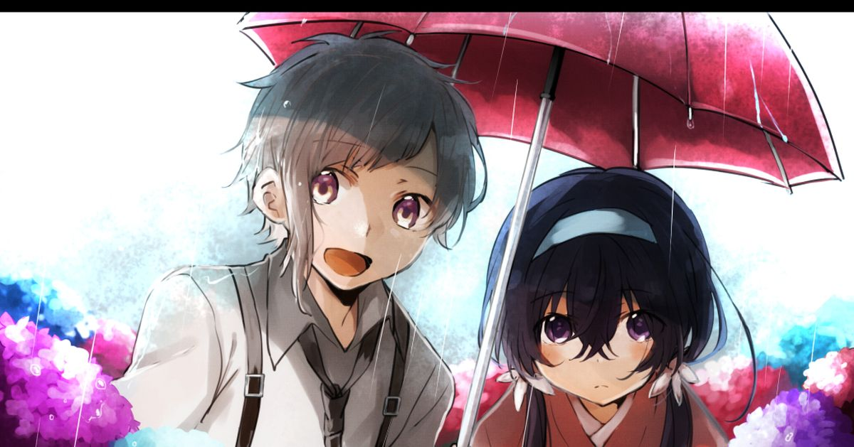 Under the rain is a world of our own♡  Drawings of Characters under One Umbrella