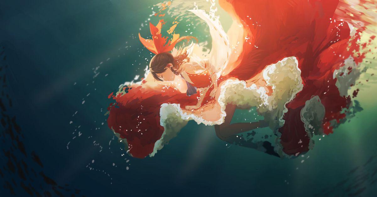 A dreamlike sapphire world. Underwater Drawings